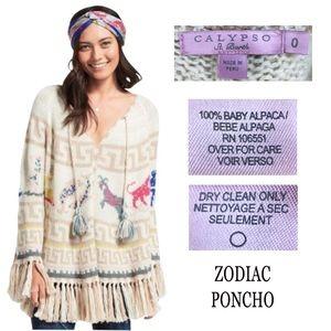 CALYPSO ST BARTH 100% Baby Alpca Zodia Poncho PERU